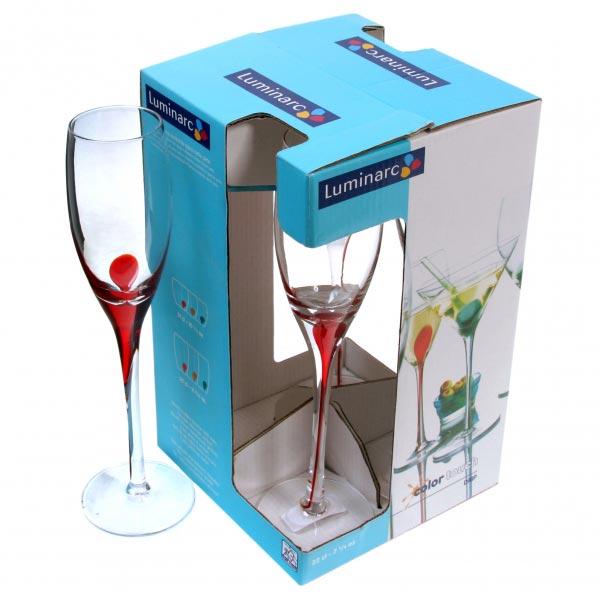 Фужеры для шампанского DRIP RED 220мл, 4шт