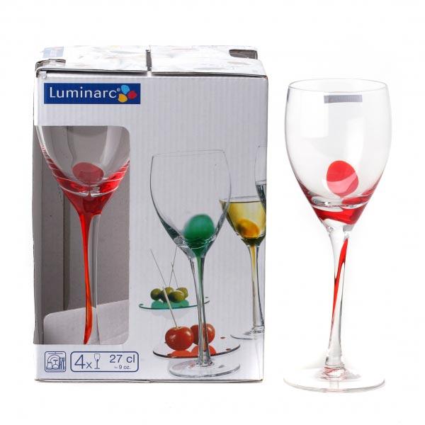 Фужеры для вина DRIP RED 270мл, 4шт