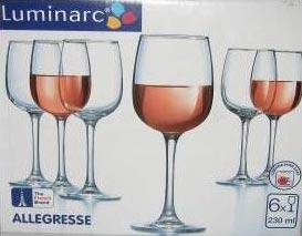 Фужеры для вина Алегресс 230мл, 6шт