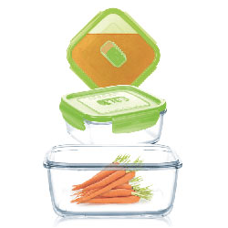 Набор контейнеров с крышкой SQUARE PURE BOX ACTIVE GREEN